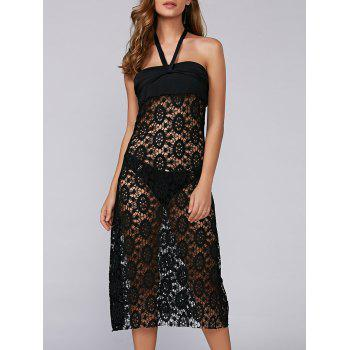 Crochet Convertible Lace Halter Swim Cover-Ups Dress