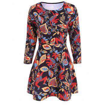 Printed Long Sleeve Fit and Flare Dress