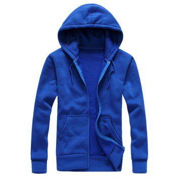 Drawstring Zip Up Plain Hoodie