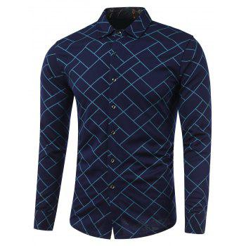 Turn-Down Collar Irregular Argyle Print Long Sleeve Shirt