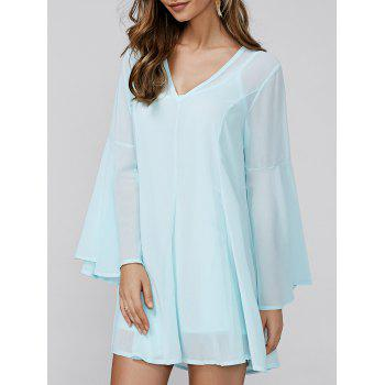 Bell Sleeve V-Neck Mini Chiffon Dress