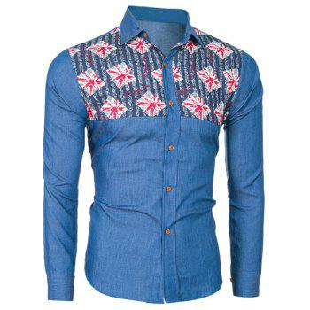 Printed Insert Long Sleeve Denim Shirt