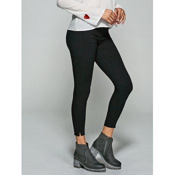 Slit Skinny Leggings With Back Pockets