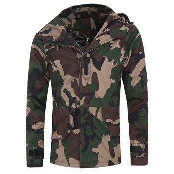 Raglan Sleeve Hooded Covered Zip Up Camo Jacket