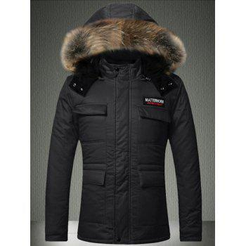 Faux Fur Hooded Multi-Pocket Quilted Jacket
