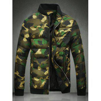 Zip Up Stand Collar Camo Quilted Jacket