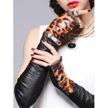 Lace Edge and Belt Embellished Leopard Pattern Leather Arm Warmers - BLACK ONE SIZE(FIT SIZE XS TO M)