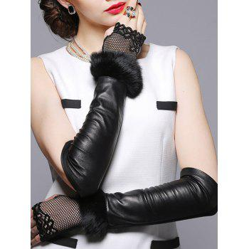 Faux Fur and Openwork Lace Embellished Leather Arm Warmers - BLACK BLACK