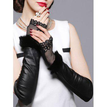 Faux Fur and Openwork Lace Embellished Leather Arm Warmers