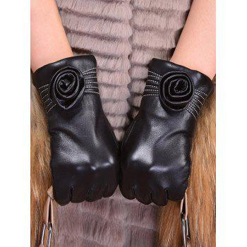 Faux Leather Flower Shape and Sewing Thread Embellished Thicken Short Gloves - XL XL