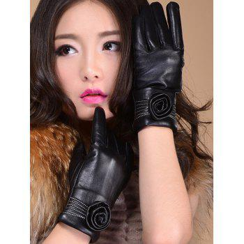Flower Shape and Sewing Thread Embellished Thicken Short Gloves