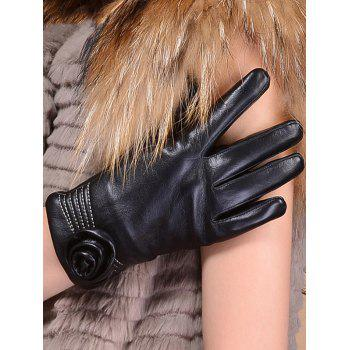Faux Leather Flower Shape and Sewing Thread Embellished Thicken Short Gloves - BLACK BLACK