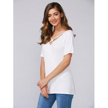 Short Sleeves Criss Cross T-Shirt - WHITE S