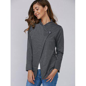 Single Button Long Sleeve Plain T-Shirt - DEEP GRAY DEEP GRAY
