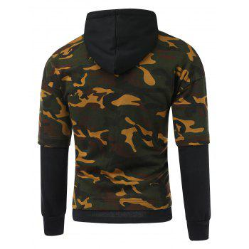 Camouflage Pattern Faux Twinset Splicing Hooded Long Sleeve Hoodie - BLACK 2XL