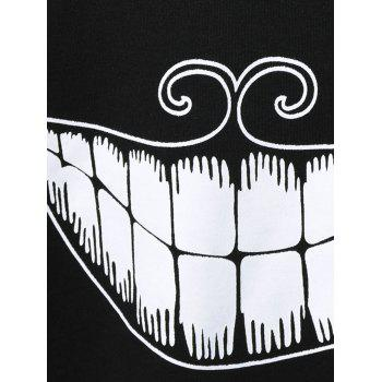 Teeth Print Funny Sweatshirt - BLACK M