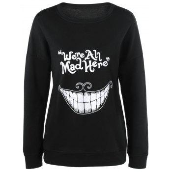 Teeth Print Funny Sweatshirt - BLACK L