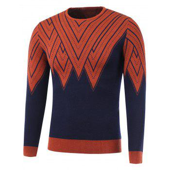 Color Block Geometric Print Round Neck Sweater