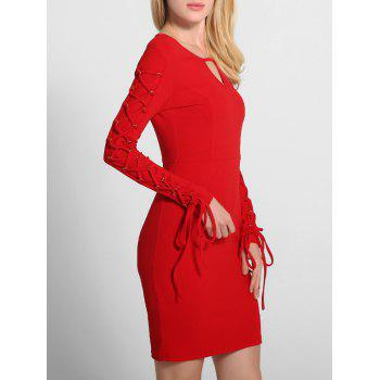 Lace Up manches longues Robe moulante - Rouge XL