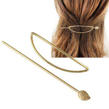 Hollow Half Oval Leaf Hairpin -  GOLDEN