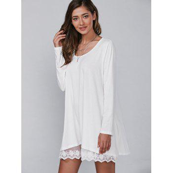 Autumn Lace Lower Hem Casual Dress With Sleeves - WHITE WHITE