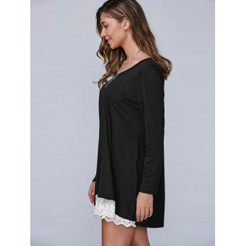 Autumn Lace Lower Hem Casual Dress With Sleeves - BLACK L