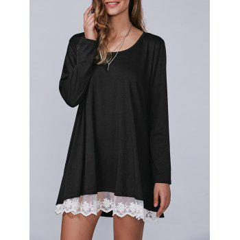 Autumn Lace Lower Hem Casual Dress With Sleeves - BLACK BLACK