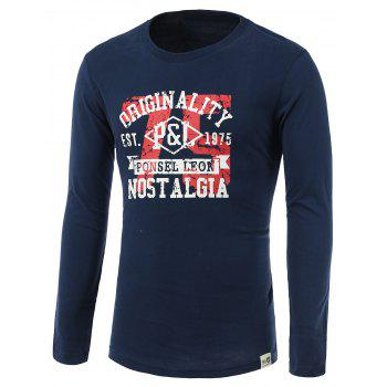 Number and Letters Print Round Neck Long Sleeve T-Shirt - SAPPHIRE BLUE SAPPHIRE BLUE