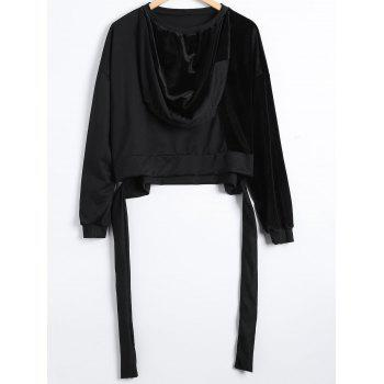 Autumn Circle Hoop Lace-Up Velvet Patched Reversible Crop Hoodie - BLACK BLACK