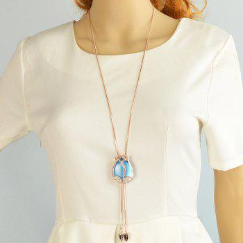 Rhinestone Layered Rosebud Necklace -  LAKE BLUE
