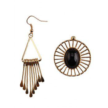 Asymmetry Geometric Water Drop Floral Earrings - BLACK BLACK