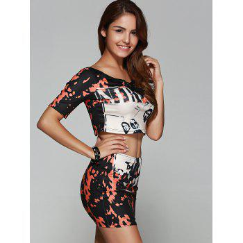 Crop Print Short Two Piece Fitted Club Dress - BLACK M