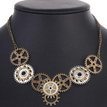 Gear Circle Necklace - BRONZE COLORED