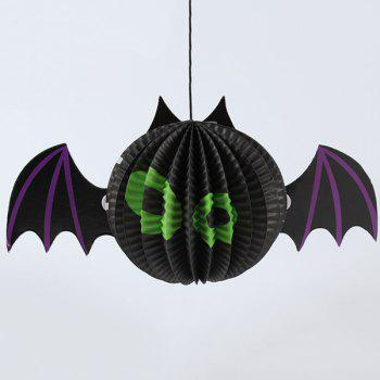 Halloween Supplies Paper Bat Lantern Hanging Decoration - BLACK BLACK