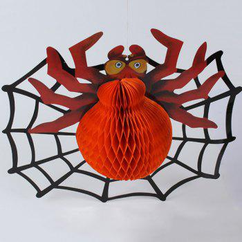 Halloween Party Supplies Paper Spider Lantern Decoration - ORANGE ORANGE
