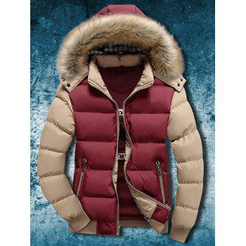 Buy Zip Detachable Faux Fur Hood Two Tone Quilted Jacket RED