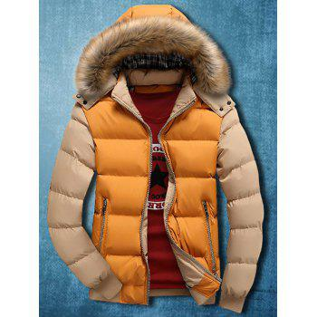 Zip Up Detachable Faux Fur Hood Two Tone Quilted Jacket
