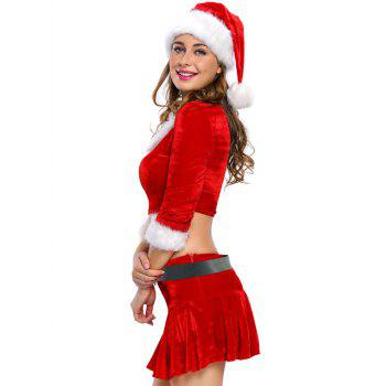 Christmas Faux Fur Crop Top and Short Skirt and Hat Sets - RED S