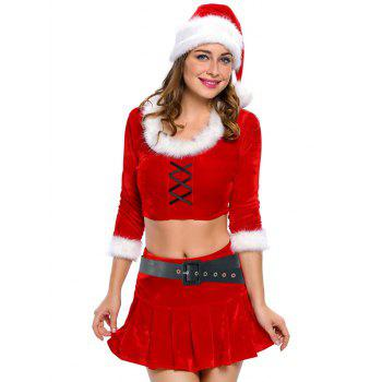 Christmas Faux Fur Crop Top and Short Skirt and Hat Sets - RED RED