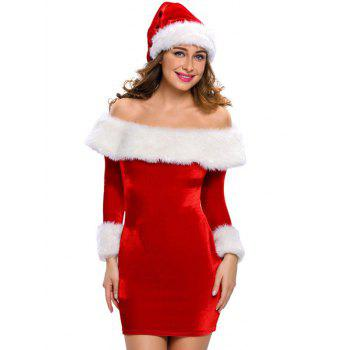 Christmas Faux Fur Fitted Velvet Short Party Dress With Hat