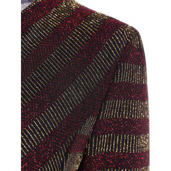 Stripe Sequined Faux Wrap Long Sleeve Blouse - WINE RED XL