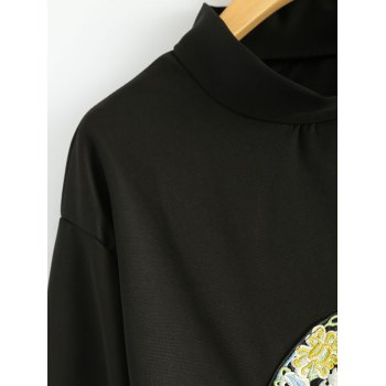 Stand Neck Long Sleeve Retro Embroidered Sweatshirt - BLACK ONE SIZE