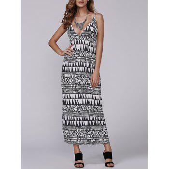 Late Summer Aztec Geometry Print Empire Waist Maxi Dress