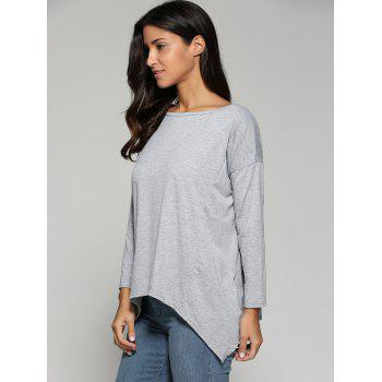 Autumn Asymmetric Drop Shoulder T-Shirt - LIGHT GRAY L