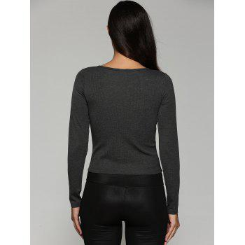 Lace-Up Knit Fitted Long Sleeve Crop T-Shirt - DEEP GRAY DEEP GRAY
