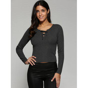 Lace-Up Knit Fitted Long Sleeve Crop T-Shirt - DEEP GRAY M