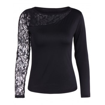Autumn One Openwork Lace Sleeve T-Shirt
