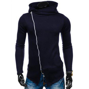 Asymmetric Side Zipper Up Hoodie