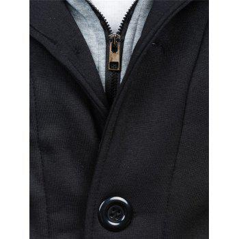Spliced Zip-Up Color Block Hoodie - BLACK XL