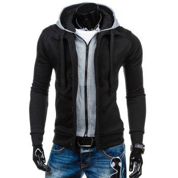 Spliced Zip-Up Color Block Hoodie